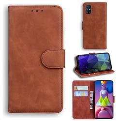 Retro Classic Skin Feel Leather Wallet Phone Case for Samsung Galaxy M51 - Brown