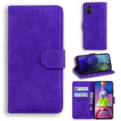 Retro Classic Skin Feel Leather Wallet Phone Case for Samsung Galaxy M51 - Purple