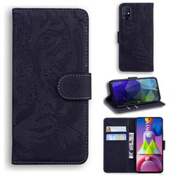 Intricate Embossing Tiger Face Leather Wallet Case for Samsung Galaxy M51 - Black