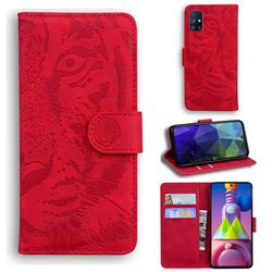 Intricate Embossing Tiger Face Leather Wallet Case for Samsung Galaxy M51 - Red