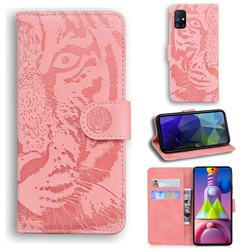 Intricate Embossing Tiger Face Leather Wallet Case for Samsung Galaxy M51 - Pink
