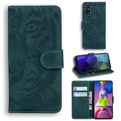 Intricate Embossing Tiger Face Leather Wallet Case for Samsung Galaxy M51 - Green