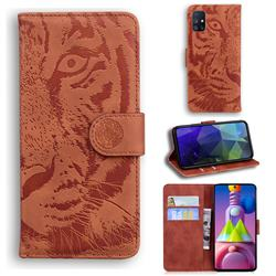 Intricate Embossing Tiger Face Leather Wallet Case for Samsung Galaxy M51 - Brown