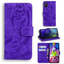 Intricate Embossing Tiger Face Leather Wallet Case for Samsung Galaxy M51 - Purple