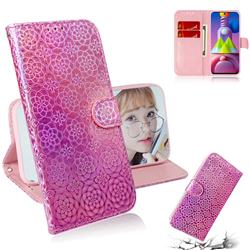 Laser Circle Shining Leather Wallet Phone Case for Samsung Galaxy M51 - Pink