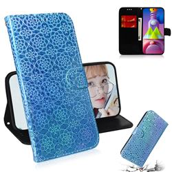 Laser Circle Shining Leather Wallet Phone Case for Samsung Galaxy M51 - Blue