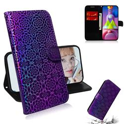 Laser Circle Shining Leather Wallet Phone Case for Samsung Galaxy M51 - Purple