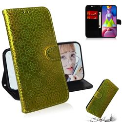 Laser Circle Shining Leather Wallet Phone Case for Samsung Galaxy M51 - Golden