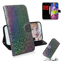 Laser Circle Shining Leather Wallet Phone Case for Samsung Galaxy M51 - Silver