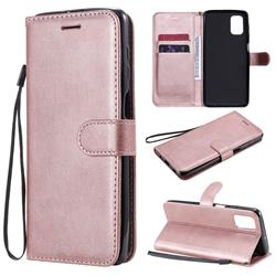 Retro Greek Classic Smooth PU Leather Wallet Phone Case for Samsung Galaxy M51 - Rose Gold