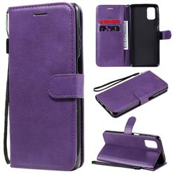 Retro Greek Classic Smooth PU Leather Wallet Phone Case for Samsung Galaxy M51 - Purple