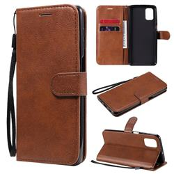 Retro Greek Classic Smooth PU Leather Wallet Phone Case for Samsung Galaxy M51 - Brown