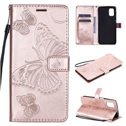 Embossing 3D Butterfly Leather Wallet Case for Samsung Galaxy M51 - Rose Gold
