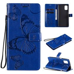 Embossing 3D Butterfly Leather Wallet Case for Samsung Galaxy M51 - Blue