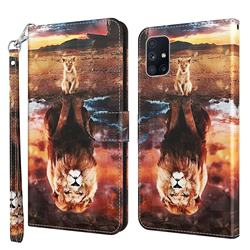 Fantasy Lion 3D Painted Leather Wallet Case for Samsung Galaxy M51