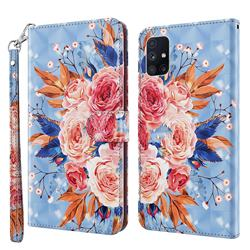Rose Flower 3D Painted Leather Wallet Case for Samsung Galaxy M51