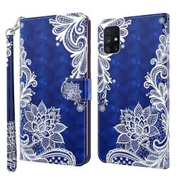 White Lace 3D Painted Leather Wallet Case for Samsung Galaxy M51