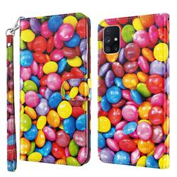 Colorful Jelly Beans 3D Painted Leather Wallet Case for Samsung Galaxy M51