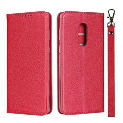 Ultra Slim Magnetic Automatic Suction Silk Lanyard Leather Flip Cover for Sharp AQUOS Zero2 SH-01M - Red