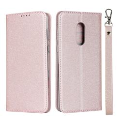 Ultra Slim Magnetic Automatic Suction Silk Lanyard Leather Flip Cover for Sharp AQUOS Zero2 SH-01M - Rose Gold