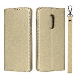 Ultra Slim Magnetic Automatic Suction Silk Lanyard Leather Flip Cover for Sharp AQUOS Zero2 SH-01M - Golden