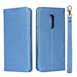 Ultra Slim Magnetic Automatic Suction Silk Lanyard Leather Flip Cover for Sharp AQUOS Zero2 SH-01M - Sky Blue