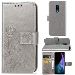 Embossing Imprint Four-Leaf Clover Leather Wallet Case for Sharp AQUOS Zero2 SH-01M - Grey