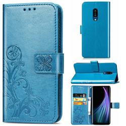 Embossing Imprint Four-Leaf Clover Leather Wallet Case for Sharp AQUOS Zero2 SH-01M - Blue