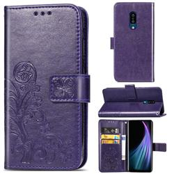 Embossing Imprint Four-Leaf Clover Leather Wallet Case for Sharp AQUOS Zero2 SH-01M - Purple