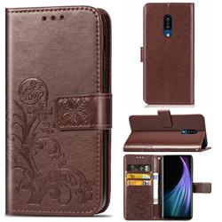 Embossing Imprint Four-Leaf Clover Leather Wallet Case for Sharp AQUOS Zero2 SH-01M - Brown