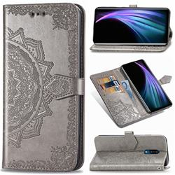 Embossing Imprint Mandala Flower Leather Wallet Case for Sharp AQUOS Zero2 SH-01M - Gray
