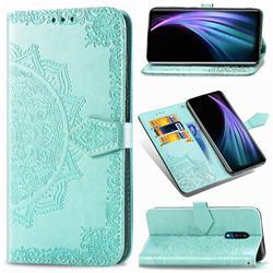 Embossing Imprint Mandala Flower Leather Wallet Case for Sharp AQUOS Zero2 SH-01M - Green