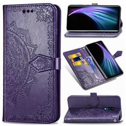 Embossing Imprint Mandala Flower Leather Wallet Case for Sharp AQUOS Zero2 SH-01M - Purple