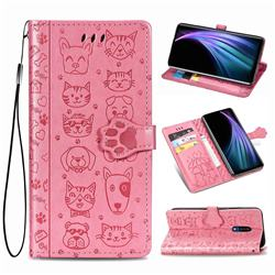 Embossing Dog Paw Kitten and Puppy Leather Wallet Case for Sharp AQUOS Zero2 SH-01M - Pink