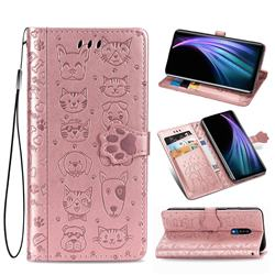Embossing Dog Paw Kitten and Puppy Leather Wallet Case for Sharp AQUOS Zero2 SH-01M - Rose Gold