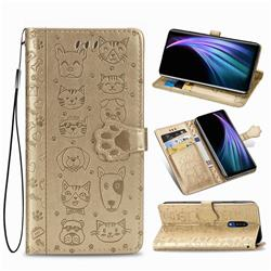 Embossing Dog Paw Kitten and Puppy Leather Wallet Case for Sharp AQUOS Zero2 SH-01M - Champagne Gold