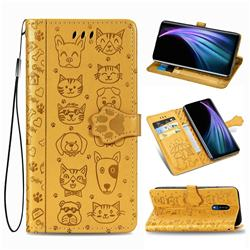 Embossing Dog Paw Kitten and Puppy Leather Wallet Case for Sharp AQUOS Zero2 SH-01M - Yellow