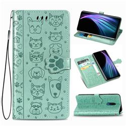 Embossing Dog Paw Kitten and Puppy Leather Wallet Case for Sharp AQUOS Zero2 SH-01M - Green