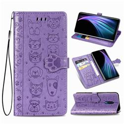 Embossing Dog Paw Kitten and Puppy Leather Wallet Case for Sharp AQUOS Zero2 SH-01M - Purple