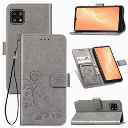 Embossing Imprint Four-Leaf Clover Leather Wallet Case for Sharp AQUOS sense4 SH-41A - Grey