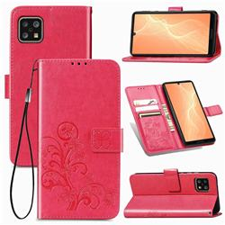 Embossing Imprint Four-Leaf Clover Leather Wallet Case for Sharp AQUOS sense4 SH-41A - Rose Red