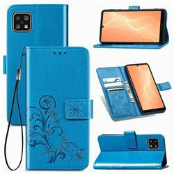 Embossing Imprint Four-Leaf Clover Leather Wallet Case for Sharp AQUOS sense4 SH-41A - Blue