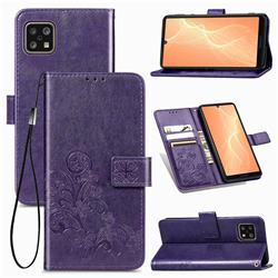 Embossing Imprint Four-Leaf Clover Leather Wallet Case for Sharp AQUOS sense4 SH-41A - Purple