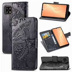 Embossing Mandala Flower Butterfly Leather Wallet Case for Sharp AQUOS sense4 SH-41A - Black