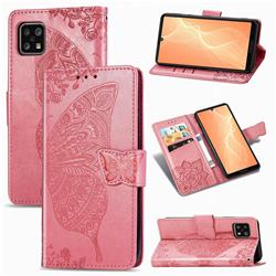 Embossing Mandala Flower Butterfly Leather Wallet Case for Sharp AQUOS sense4 SH-41A - Pink