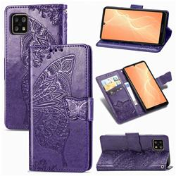 Embossing Mandala Flower Butterfly Leather Wallet Case for Sharp AQUOS sense4 SH-41A - Dark Purple
