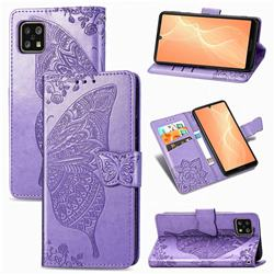 Embossing Mandala Flower Butterfly Leather Wallet Case for Sharp AQUOS sense4 SH-41A - Light Purple