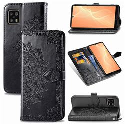 Embossing Imprint Mandala Flower Leather Wallet Case for Sharp AQUOS sense4 SH-41A - Black