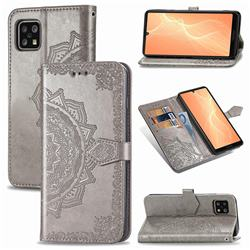 Embossing Imprint Mandala Flower Leather Wallet Case for Sharp AQUOS sense4 SH-41A - Gray