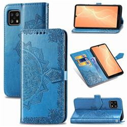 Embossing Imprint Mandala Flower Leather Wallet Case for Sharp AQUOS sense4 SH-41A - Blue